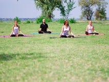 Группа в составе профессиональные yogis размышляет в парке города Стоковые Фотографии RF