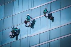 Группа в составе работники очищая обслуживание окон на высоком здании подъема Стоковая Фотография
