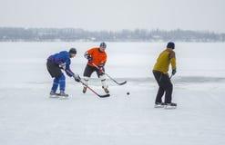 Группа в составе различная достигшая возраста игра людей hokey на замороженном реке Dnipro в Украине стоковые фотографии rf