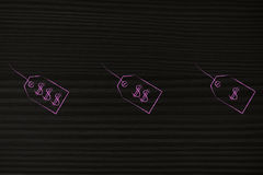 Группа в составе 3 различных ценника от роскоши к дешево иллюстрация штока