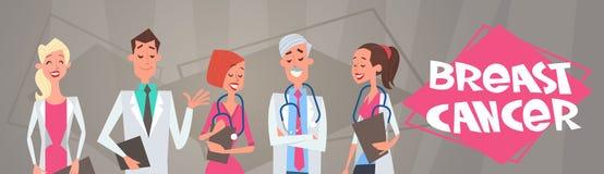 Группа в составе рака молочной железы доктора На Заболевание Осведомленность и плакат предохранения иллюстрация штока