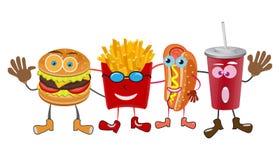 Группа в составе дружелюбные еды фаст-фуда на белой предпосылке Стоковые Изображения