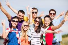 Группа в составе друзья имея потеху на пляже Стоковые Изображения