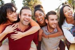 Группа в составе друзья имея потеху совместно Outdoors Стоковое фото RF