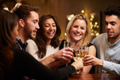 Группа в составе друзья наслаждаясь вечерними напитками в баре Стоковые Фотографии RF