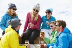 Группа в составе друзья наслаждаясь питьем в баре на лыжном курорте Стоковое фото RF