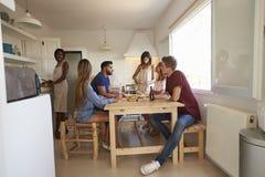 Группа в составе друзья на официальныйе обед, одном из их подготавливая еду Стоковые Фото