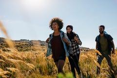 Группа в составе друзья на прогулке через сельскую местность стоковое изображение