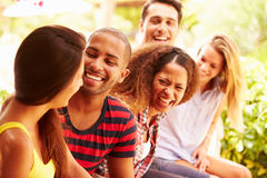 Группа в составе друзья ослабляя Outdoors на празднике совместно стоковая фотография rf