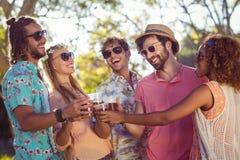 Группа в составе друзья провозглашать стекла пива Стоковые Изображения RF