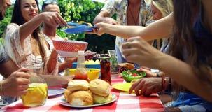 Группа в составе друзья проходя плиту еды на партию барбекю outdoors акции видеоматериалы