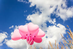 Группа в составе симпатичная розовая картина сердца раздувает на ясном свете - сини Стоковое Изображение RF