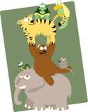 Группа в составе смешные животные иллюстрация штока