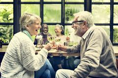 Группа в составе старшая встреча выхода на пенсию вверх по концепции счастья Стоковая Фотография