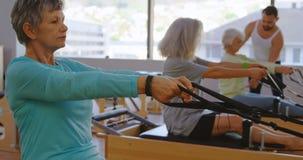 Группа в составе старшие женщины делая протягивающ тренировку 4k видеоматериал