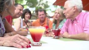 Группа в составе старшие друзья наслаждаясь коктеилями в баре совместно сток-видео