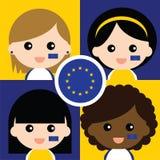 Группа в составе сторонники счастливого Европейского союза Стоковое Изображение RF