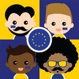 Группа в составе сторонники счастливого Европейского союза Стоковые Изображения