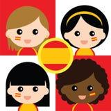 Группа в составе сторонники счастливой Испании Стоковые Изображения RF
