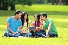 Группа в составе студенты изучая в парке стоковое фото