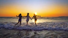 Группа в составе счастливые девушки скачет в океан на заходе солнца Стоковые Изображения