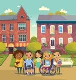 Группа в составе счастливые дети с книгами и таблетки стоят на солнечной улице города schoolyard Заботить для концепции ребенок-и иллюстрация вектора
