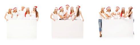 Группа в составе счастливые подростки в шлемах Кристмас Стоковые Фото