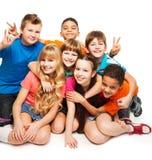 Счастливые мальчики и девушки стоковое изображение rf