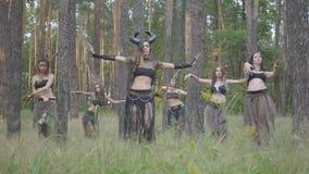 Группа в составе танцоры женщин с макияжем и в мистических фантастических костюмах танцуя шпунтовой танец в дыме цвета Лес сток-видео