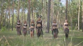 Группа в составе танцоры женщин с макияжем и в мистических фантастических костюмах танцуя шпунтовой танец в природе Феи леса сток-видео