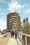 Группа в составе туристы идя на деревянный мост к большой спирали стоковое изображение rf
