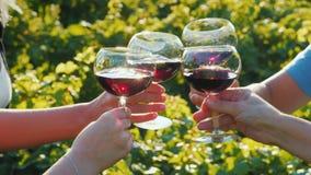 Группа в составе туристы пробуя вино около виноградника Совместно clink стекла, конец-вверх стоковые фото