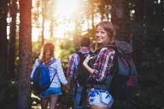 Группа в составе укладывая рюкзак hikers идя для леса trekking Стоковая Фотография RF