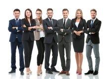 Группа в составе усмехаясь бизнесмены Изолировано над белой предпосылкой стоковое фото rf