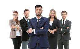 Группа в составе усмехаясь бизнесмены Изолировано над белой предпосылкой стоковые изображения