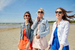 Группа в составе усмехаясь женщины в солнечных очках на пляже Стоковое Изображение