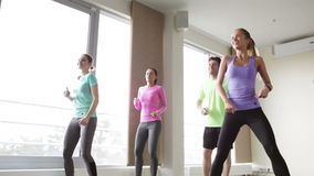 Группа в составе усмехаясь люди танцуя в спортзале или студии сток-видео