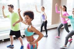 Группа в составе усмехаясь люди танцуя в спортзале или студии Стоковая Фотография