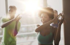 Группа в составе усмехаясь люди танцуя в спортзале или студии Стоковое Изображение RF