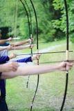 Группа в составе лучник делая японский Archery Стоковое Изображение RF