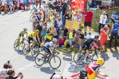 Группа в составе фавориты на Col du Glandon - Тур-де-Франс 2015 стоковые изображения