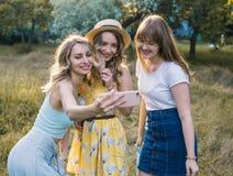 Группа в составе фото selfie взятия подруг Стоковое Изображение RF
