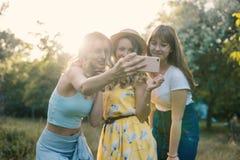 Группа в составе фото selfie взятия подруг Стоковые Фото