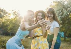Группа в составе фото selfie взятия подруг Стоковое фото RF