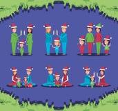 Группа в составе члены семьи с одеждами рождества иллюстрация штока