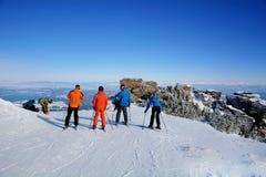 Группа в составе лыжники на наклоне в гору зимы Стоковые Изображения RF