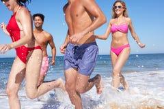 Группа в составе друзья наслаждаясь праздником пляжа Стоковое Фото