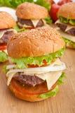 Группа в составе cheeseburgers, с ингридиентами Стоковое Изображение