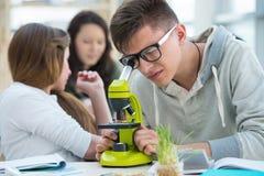 Группа в составе excited студенты работая в классе Стоковая Фотография