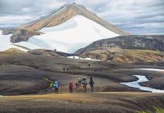 Группа в составе hikers в горах Стоковые Фотографии RF